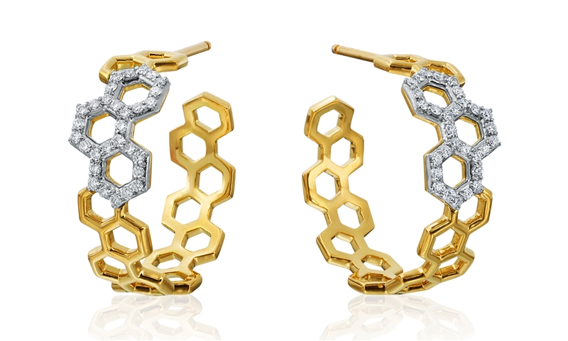 Gumuchian B collection honeycomb hoop earrings