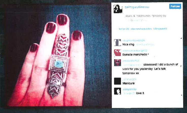 Image of an alleged copycat ring on the Instagram account of @BrittGastineau, from Rodkin's court document