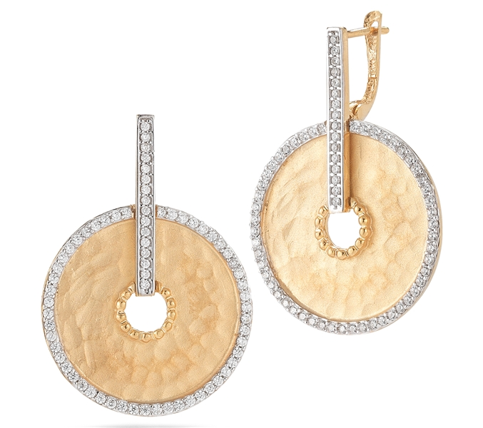 I. Reiss hammered disc diamond earrings