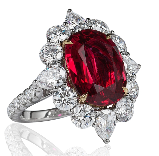 Jack Abraham platinum 7ct ruby and diamond ring