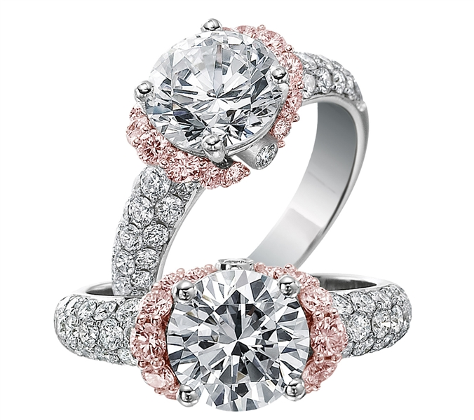 Jack Kelege white and pink diamond engagement ring