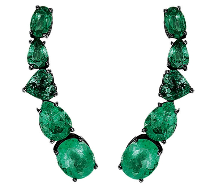 Jack Vartanian emerald climbing earrings