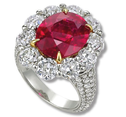 John Buechner ruby and old Euro diamond ring