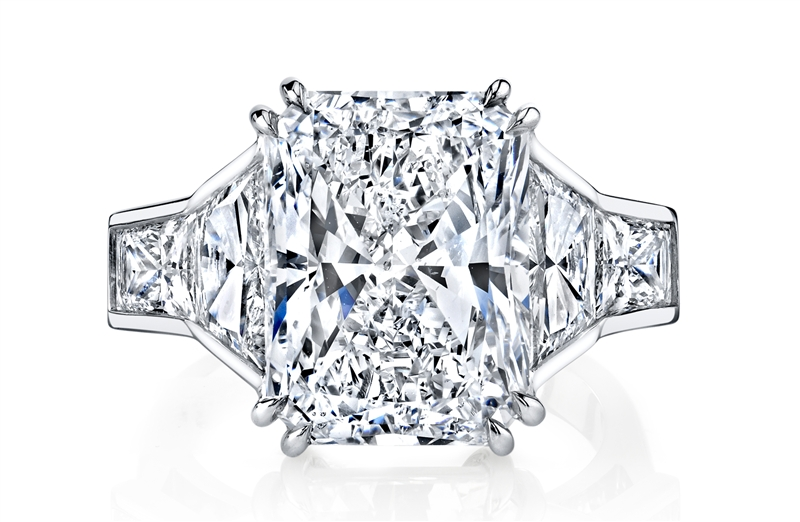 Joshua J radiant 7ct diamond engagement ring