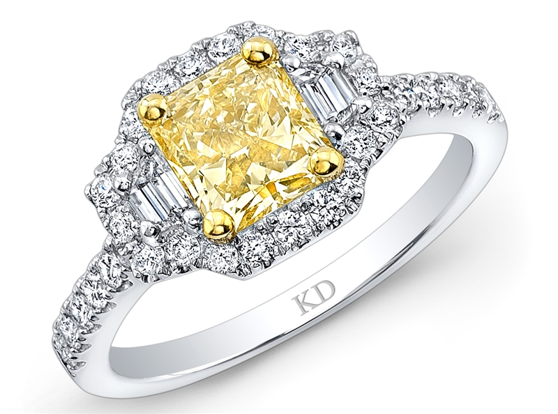 Kattan radiant yellow diamond engagement ring