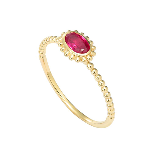 Lagos Covet ring in gold with ruby