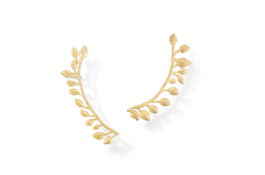 Bloom Leaf cuff earrings in 18k yellow gold with matte finish; $3,000; Sandy Leong, NYC; 646-725-3336; sandyleongjewelry.com
