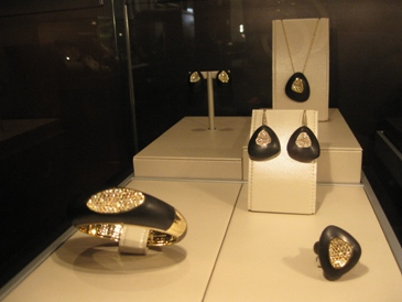 Roberto Coin's new Capriplus line of ebony and gold plate jewerly.