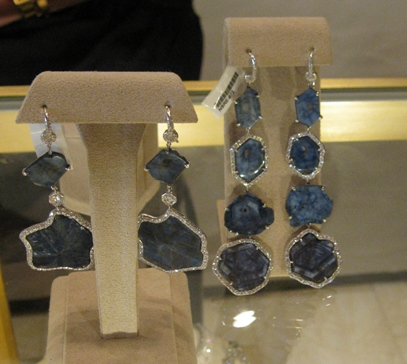 Rough blue diamonds in platinum from Nina Runsdorf.