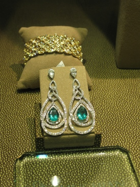 Diamond and gold earrings from the Peacock collection.