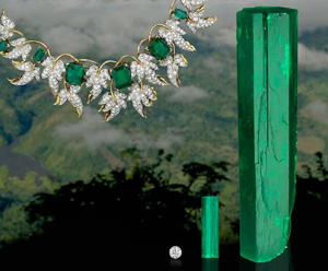 "The 472-ct. ""El Itoco"" emerald crystal displayed with three other emerald crystals and an emerald and diamond necklace and earrings suite designed by Jean Schlumberger"