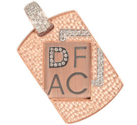 DFAC 14k rose gold and yellow gold dog tag pendant