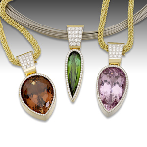 Bi-colored tourmaline, green tourmaline, and Kunzite framed in 18K gold and diamonds by Barbara Westwood