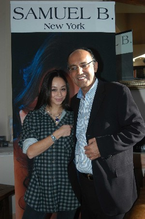 Actress Cara Santana with Samuel Behnam at Sundance event