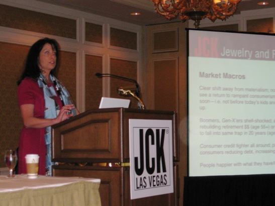 JCK Magazine editor at large, Hedda Schupak, talked about jewelers and the new consumer frugality.