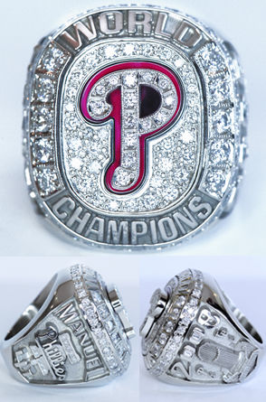 Philadelphia Phillies Championship diamond, white gold, and ruby ring