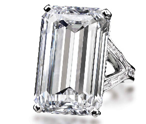Rectangular-cut diamond ring weighing 30.52 cts.