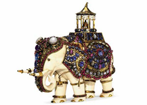ivory and multi-gem elephant, circa 1900, image from Christie's
