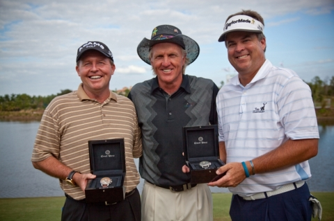 Scott Hoch, golf legend Greg Norman, and Kenny Perry at Merrill Lynch Shootout sponsored by Bigham Jewelers and Ernst Benz