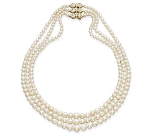 three-row, white natural pearl necklace