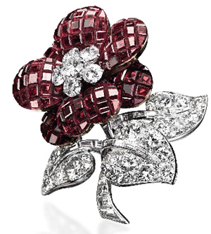 Van Cleef & Arpels ruby and diamond 'Pavot' clip brooch