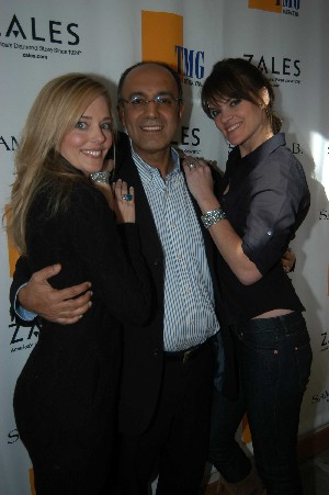 Actresses Christine Moore (left) and Missy Pyle with Samuel Behnam