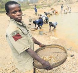 A diamond miner in Zimbabwe.