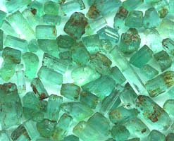 A parcel of fine Zambian emeralds.