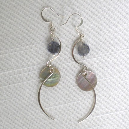 Sterling wire, iolite, and shell earrings by Silver Curve Studio