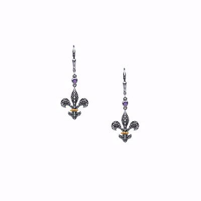 Sterling Fleur de Lis earrings with amethys and 18k gold accents by Starhaven by Liz Donahue