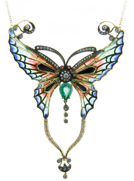 Lord Jewelry french enamel butterfly necklace