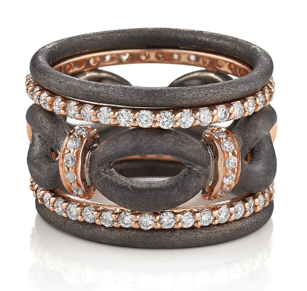 Makur Argentium silver and rose gold diamond ring