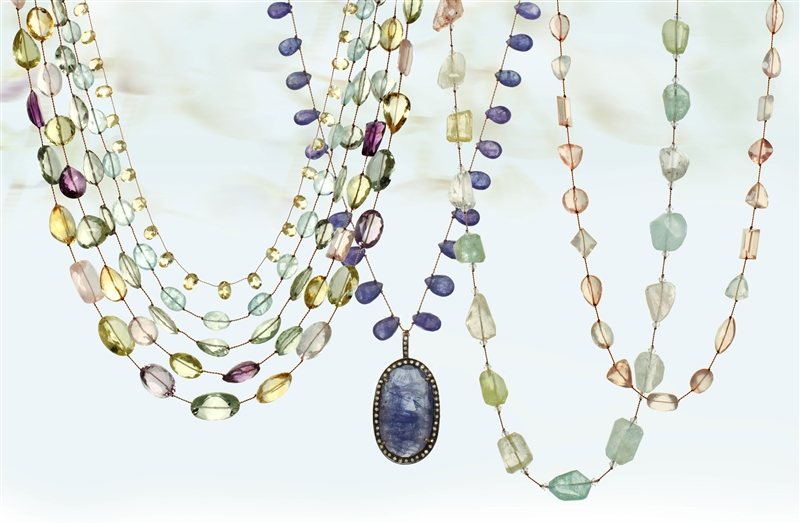 Margo Morrison colored gemstone cord necklaces