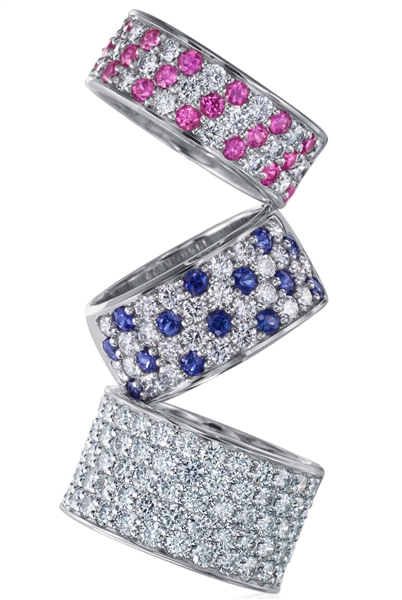 Memoire Pave Silk diamond and sapphire bands