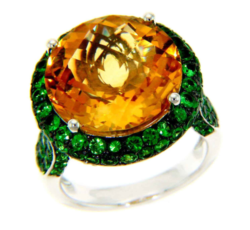 Michael John Jewelry ring in 18k gold with citrine, tsavorite, and diamonds