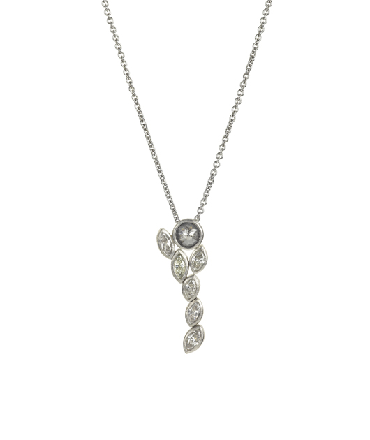 Pendant necklace in palladium with diamonds by Todd Reed