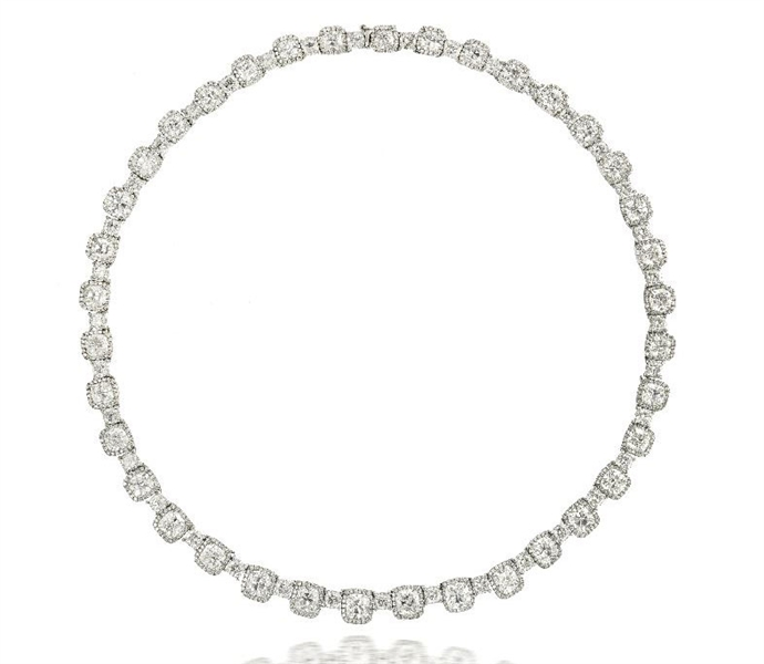 Nader Kash cushion brilliant diamond necklace