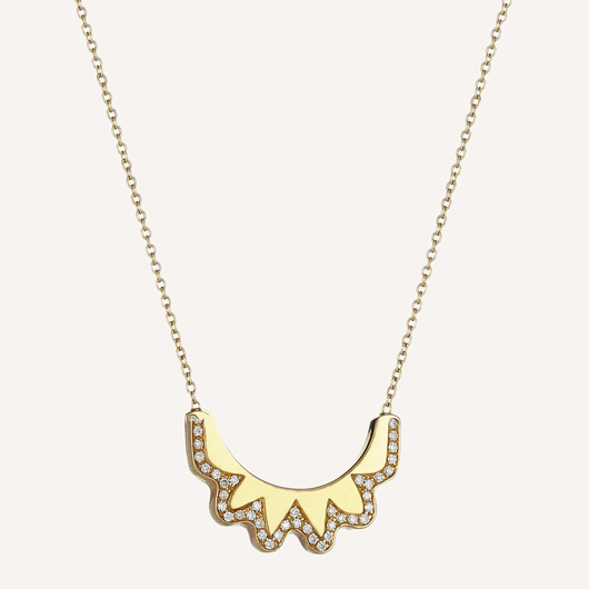 Crescent pendant necklace in 18k gold with diamonds from Ilana Ariel Jewelry