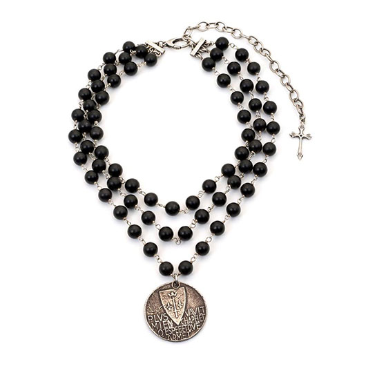 Silver and onyx Joan of Arc coin necklace by Shannon Koszyk