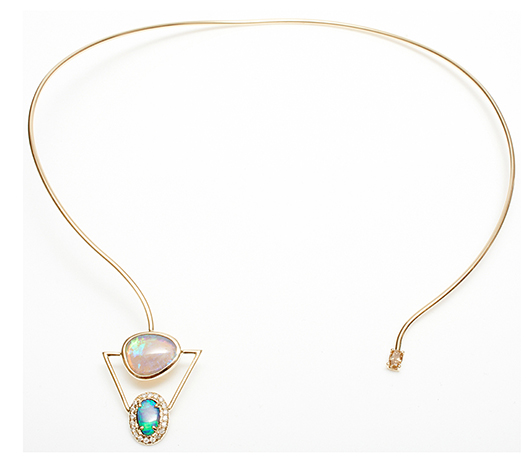Collar necklace with diamonds, opal, and a Tahitian pearl by Xiao Wang