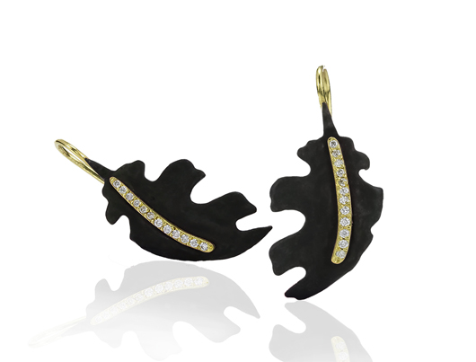 Oak Leaf earrings in 18k gold and oxidized cobalt chrome from Sarah Graham Metalsmithing