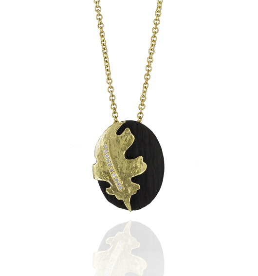 Oak Leaf pendant necklace in 18k gold and oxidized cobalt chrome from Sarah Graham Metalsmithing