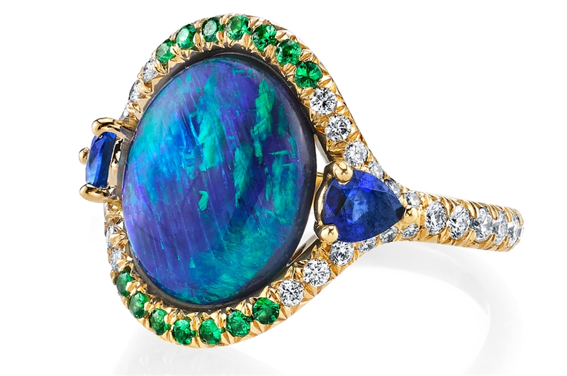 Omi Prive opal ring with tsavorite and sapphire
