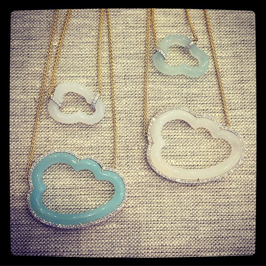 Pamela Huizenga's Cloud-motif chalcedony and 18k gold necklaces