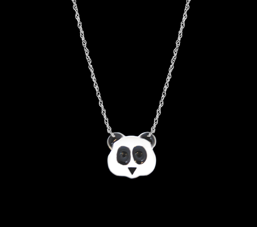 Panda necklace designed by an editor and made by Jane Basch
