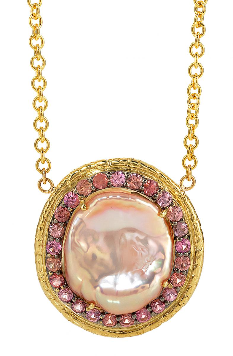Susan Wheeler Design pink pearl and padparadscha sapphire pendant
