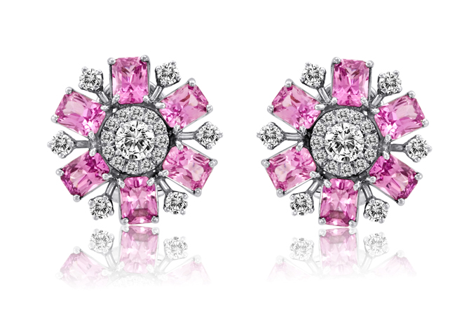 Platinum earrings with pink sapphires and diamonds by Jacqueline Fine Jewelry