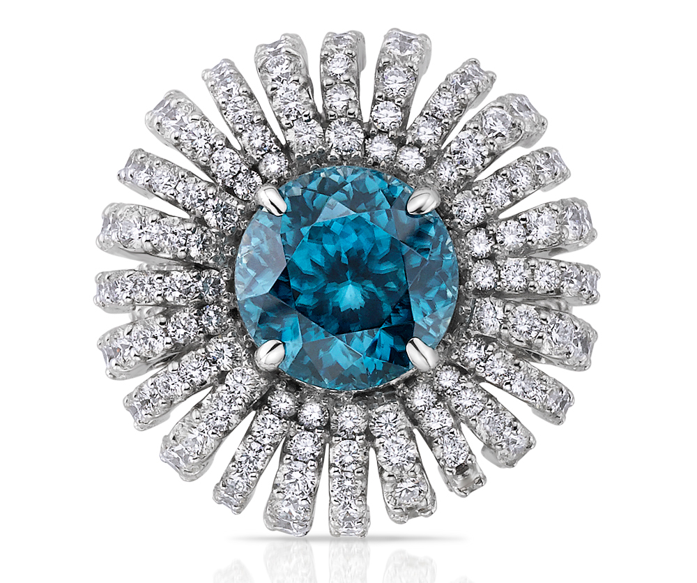 Carizza by Shah Luxury zircon and diamond burst ring