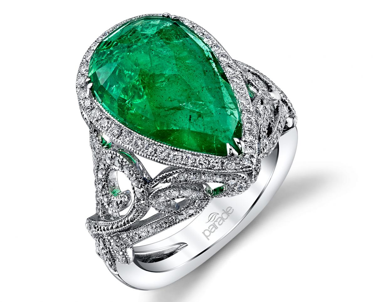 Parade Design Parade in Color pear-shape emerald ring