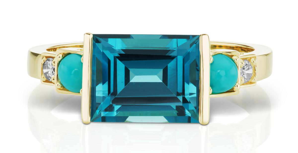 Jane Taylor Cirque collection blue topaz and turquiose ring